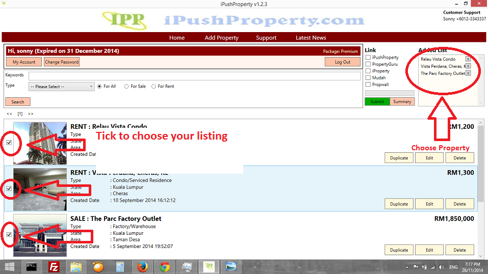 I Push Property Choose Listing